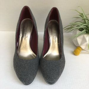 Christian Siriano Gray Wool & Leather Pumps S 6
